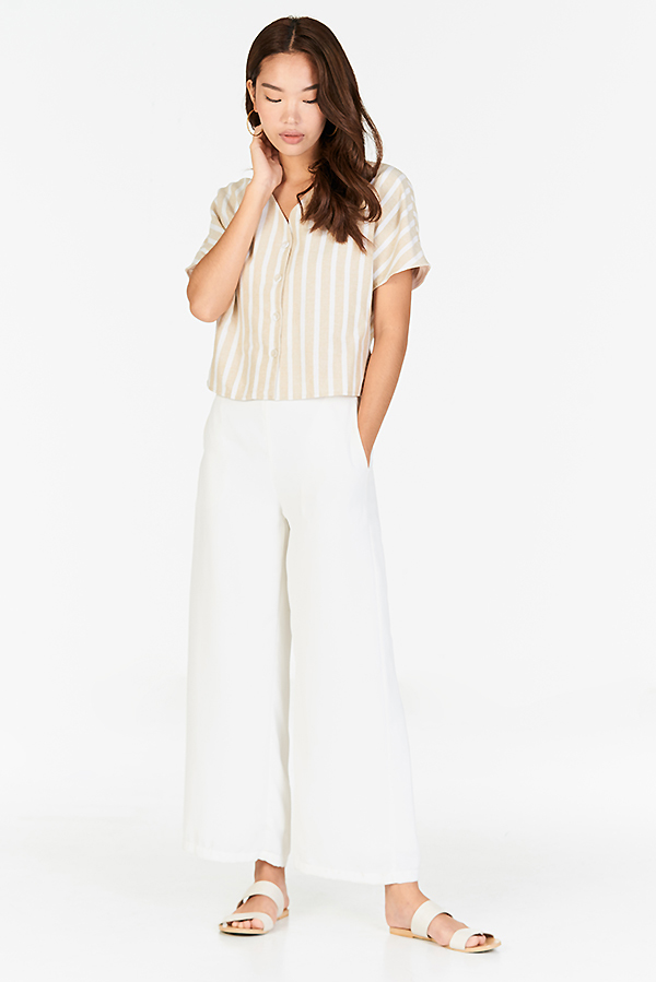 Aden Stripes Linen Top in Cream