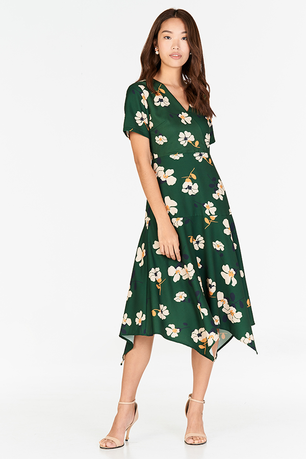 Calin Floral Printed Midi Dress