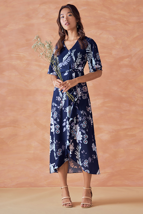 Sharise Floral Printed Midi Dress