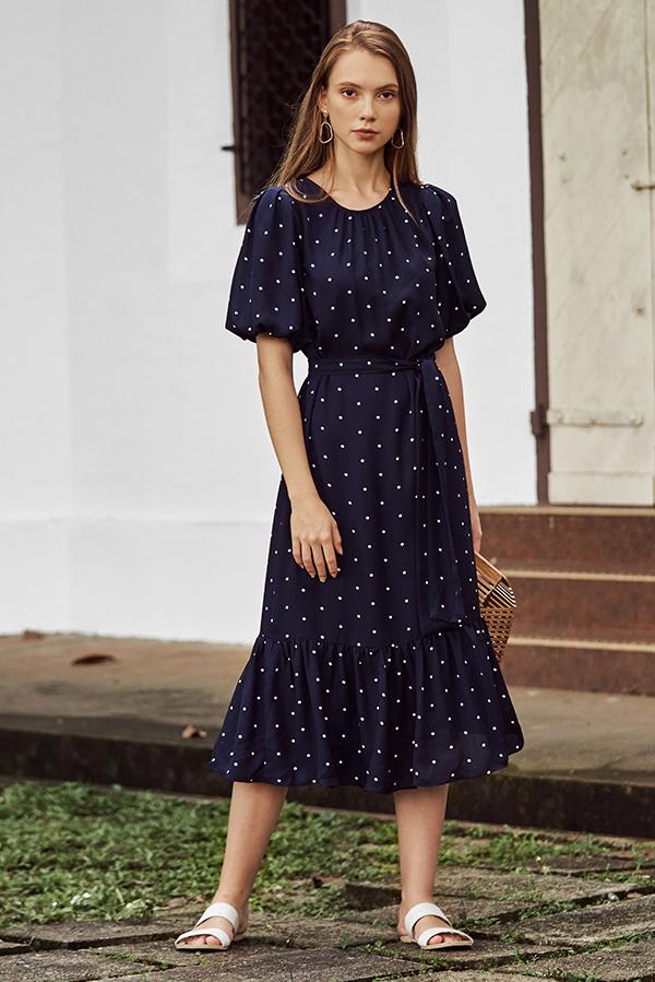 Rina Dotted Midi Dress