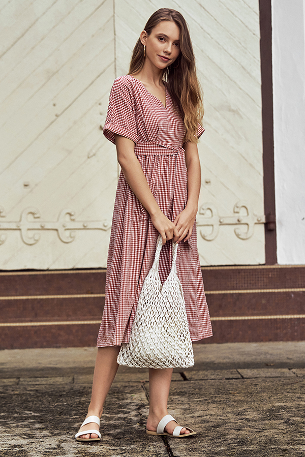 Derila Gingham Midi Dress in Brick Red