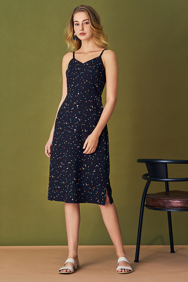 Rani Confetti Printed Dress in Black