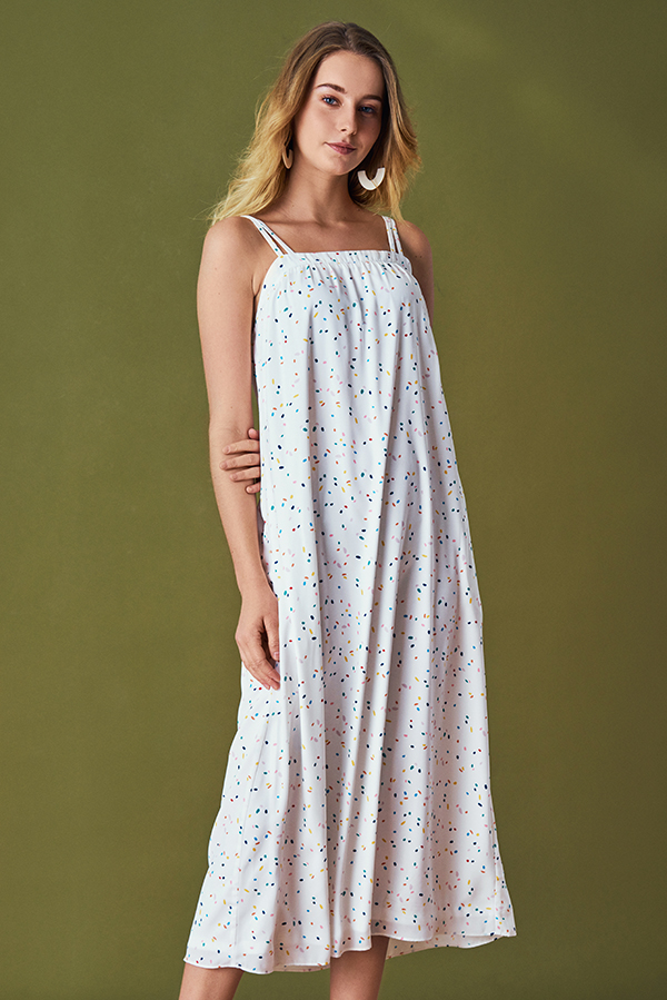 Rani Confetti Printed Maxi Dress in White