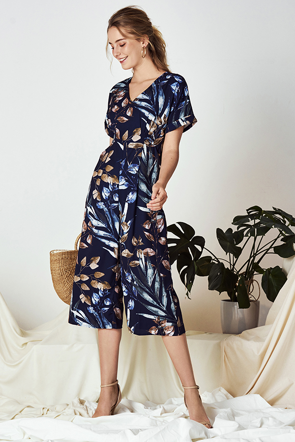 Ferlina Fauna Printed Culottes Romper in Navy