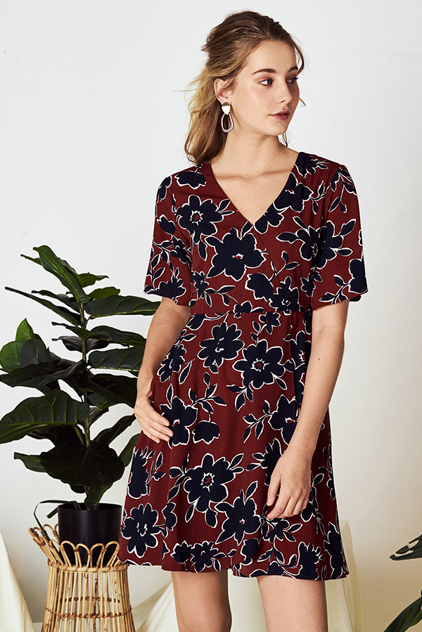 Elyne Printed Sleeved Dress