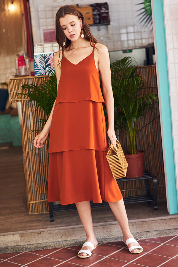 Denica Tiered Midi Dress in Burnt Orange