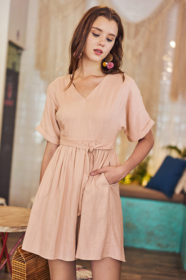 f0bb760c388a15 Rinn Linen Dress in Nude Pink