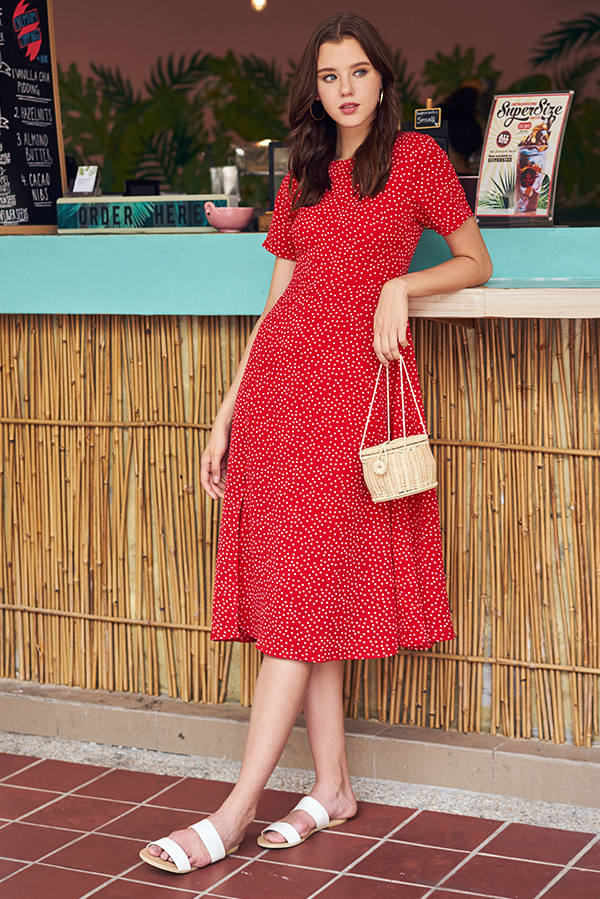 Yander Dotted Midi Romper in Red