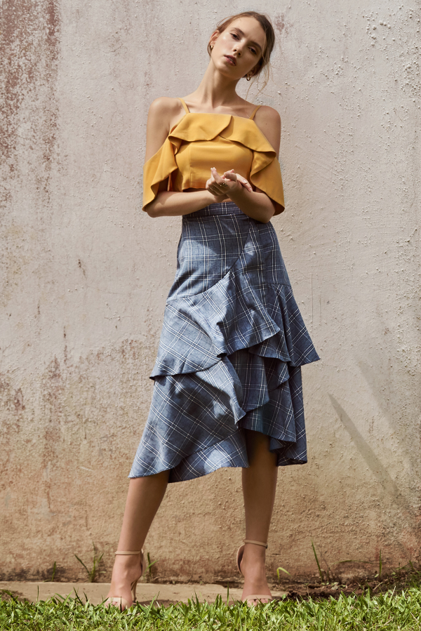 Reilla Plaids Ruffled Midi Skirt