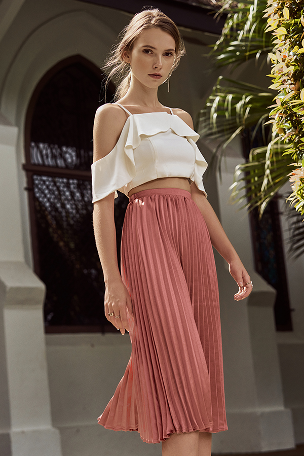 Kelline Pleated Midi Skirt