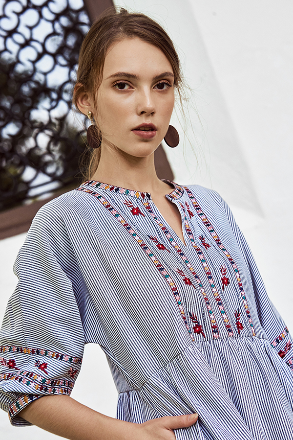 Eilana Embroidered Stripes Dress