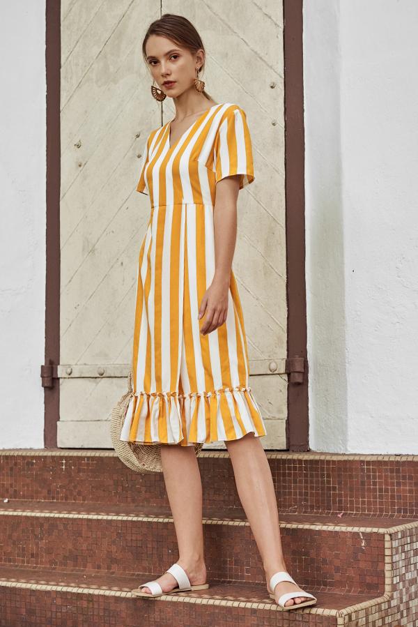 Enisa Stripes Ruffled Hem Midi Dress in Marigold