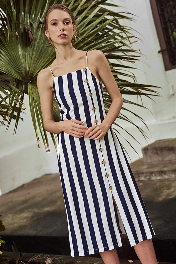 Orina Stripes Midi Dress in Navy