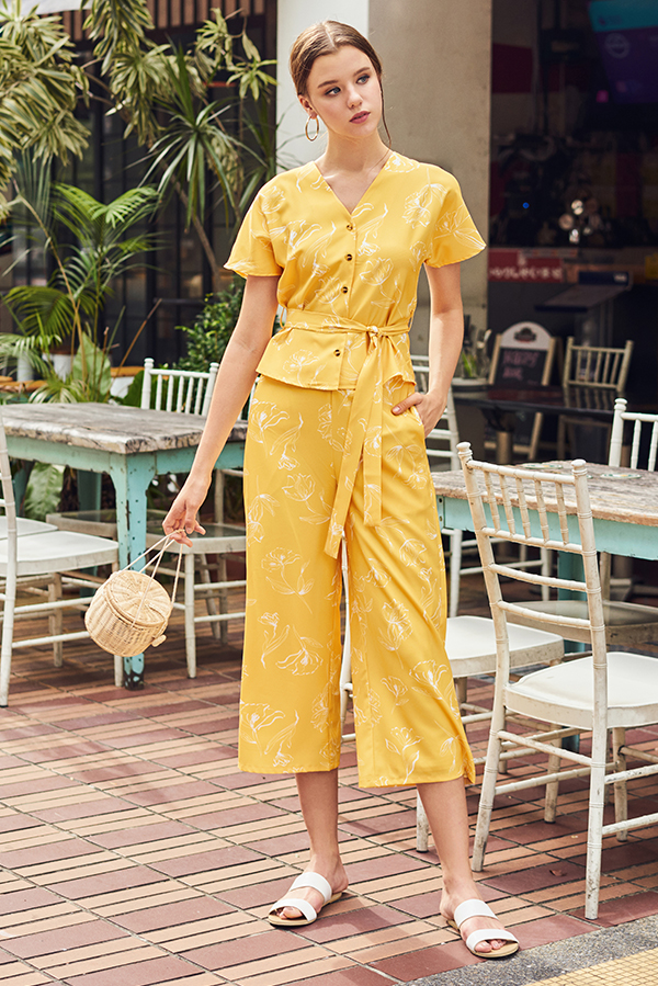 Charissa Floral Printed Culottes in Marigold