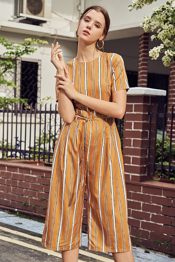 Sherina Stripes Jumpsuit in Mustard