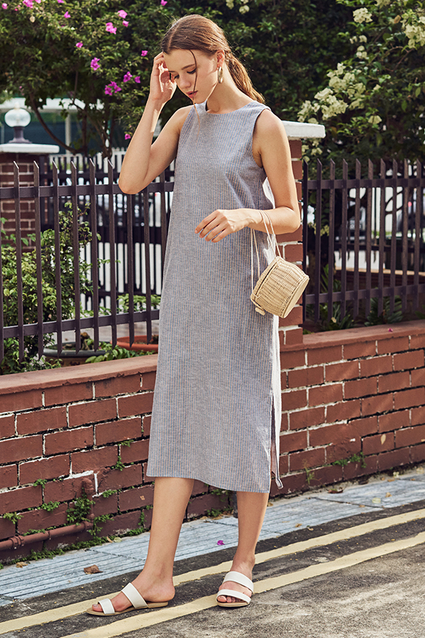 Dayle Linen Stripes Midi Dress
