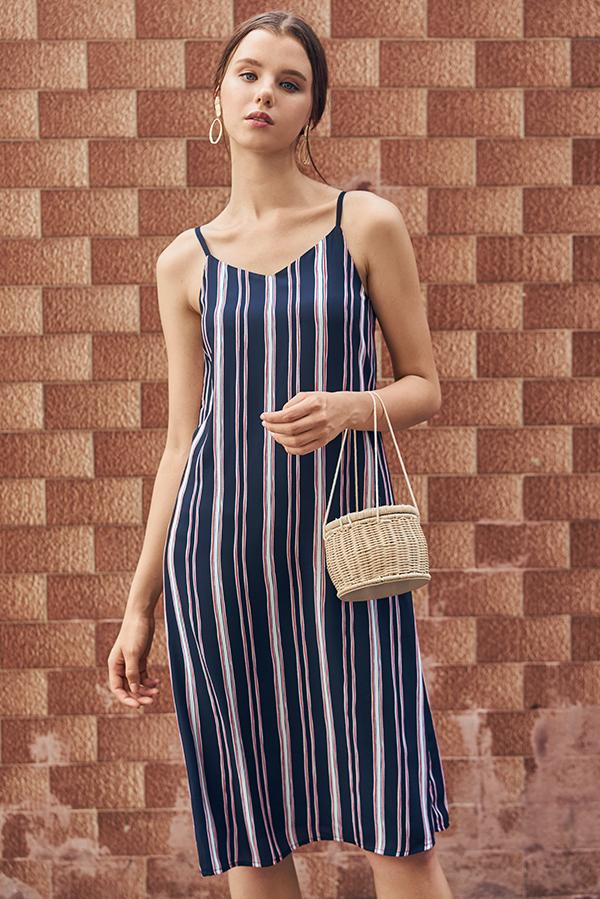 Sherina Two Way Stripes Midi Dress in Dark Navy