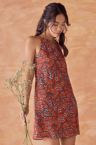 Heiddi Floral Printed Dress in Rust