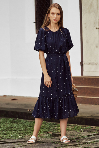 Rina Dotted Midi Dress