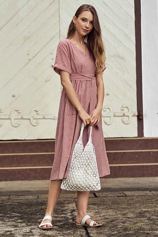 Derila Gingham Midi Dress in Brick Red