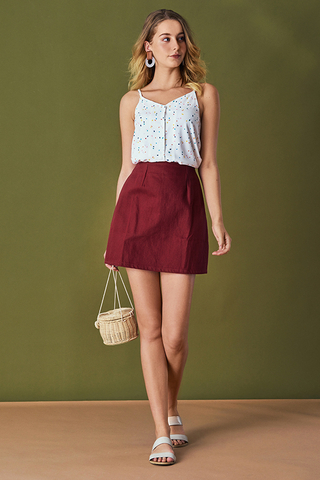 Deraina Denim Skirt in Wine