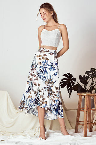 *Restock* Ferlina Fauna Printed Midi Skirt in White
