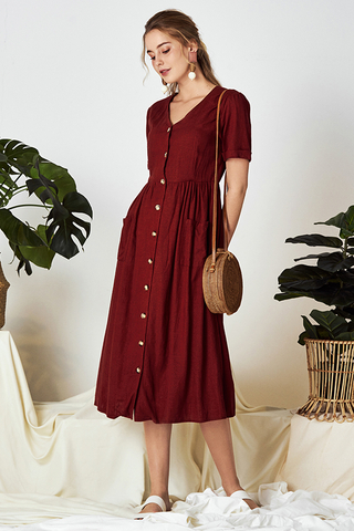 Landa Linen Midi Dress in Wine