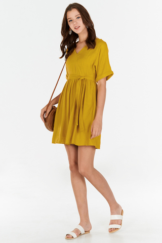 Rinn Linen Dress in Mustard