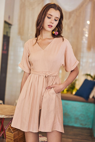 Rinn Linen Dress in Nude Pink