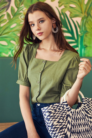 Gerina Square Neck Linen Top in Olive