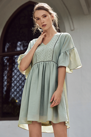 Corila Eyelet Panel Dress in Spring Mint