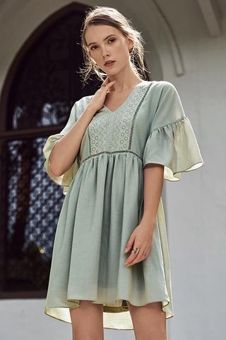 Corila Eyelet Panel Dress in Spring Mint