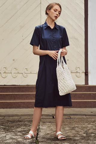 Robyn Shirt Midi Dress in Navy