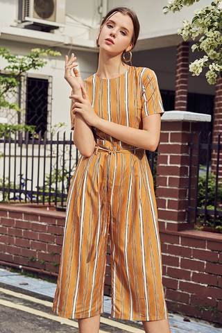 Sherina Stripes Jumpsuit in Mustard