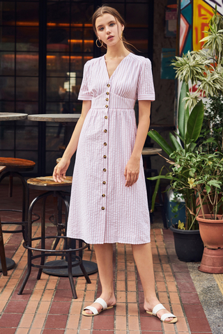 Hara Stripes Pouf Sleeves Midi Dress in Pink