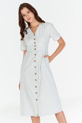 Hara Stripes Pouf Sleeves Midi Dress in Spring Mint