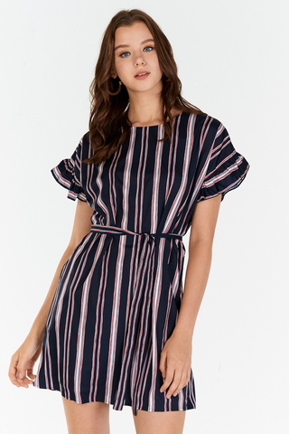 Sherina Stripes Ruffled Sleeves Dress in Dark Navy