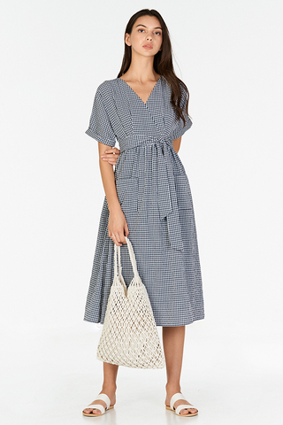 Derila Gingham Midi Dress in Navy