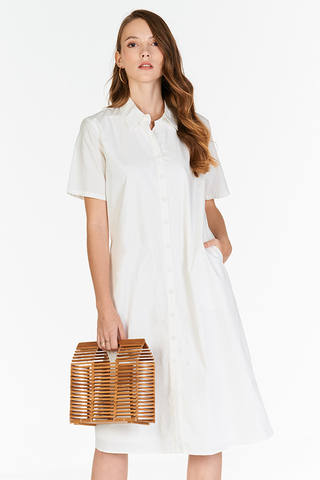 Robyn Shirt Midi Dress in White