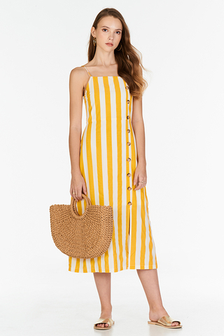 Orina Stripes Midi Dress in Marigold