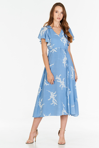 Anisa Printed Midi Dress in Blue