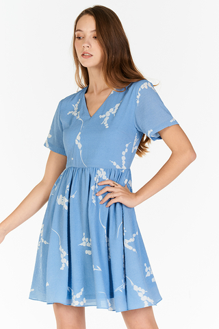 Anisa Printed Dress in Blue