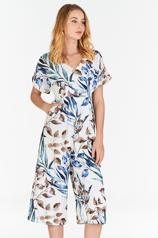 Ferlina Fauna Printed Culottes Romper in White