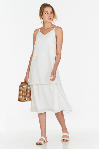 Denica Tiered Midi Dress in White