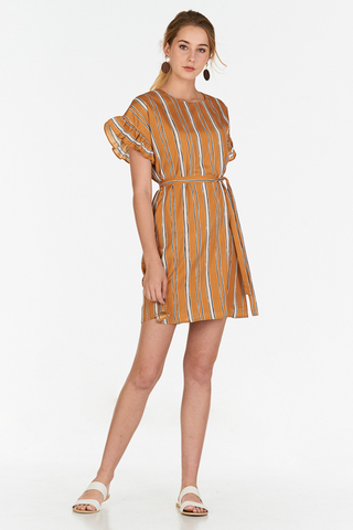 Sherina Stripes Ruffled Sleeves Dress in Mustard