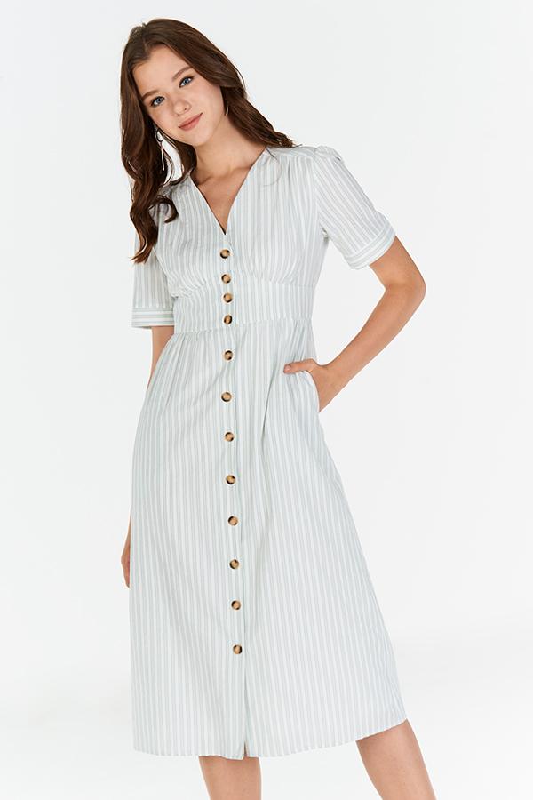 Hara Stripes Pouf Sleeves Midi Dress in Spring Mint