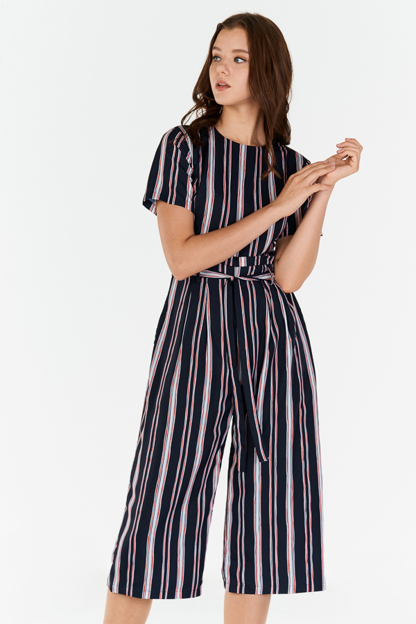 Sherina Stripes Jumpsuit in Dark Navy