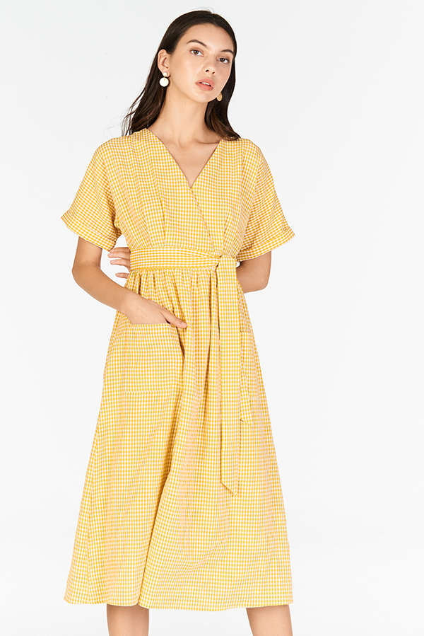 Derila Gingham Midi Dress in Marigold