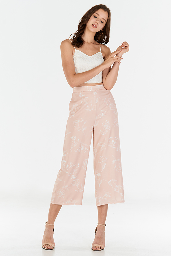 Charissa Floral Printed Culottes in Pink