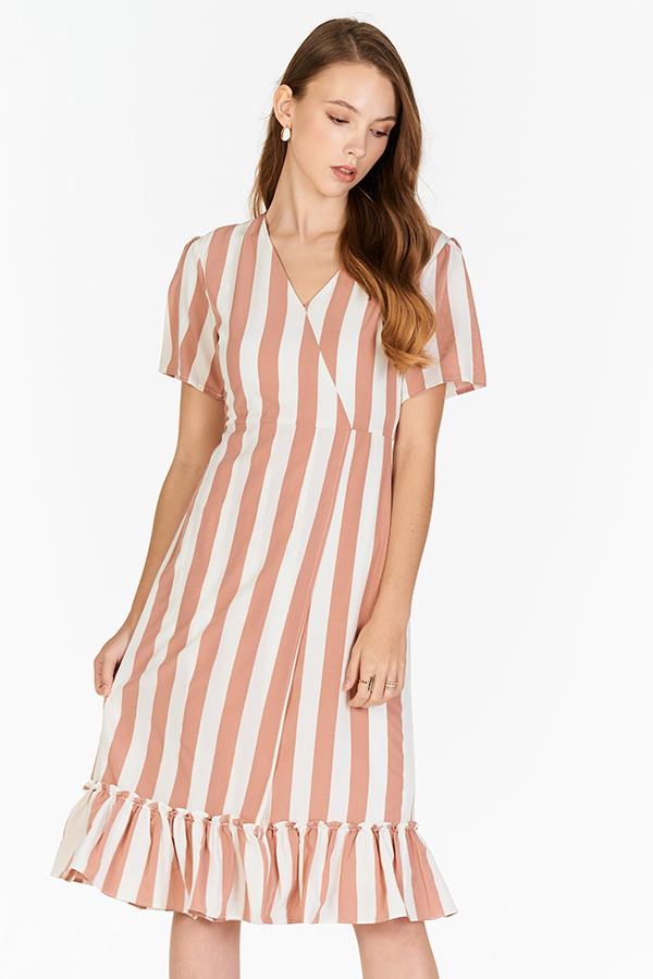 Enisa Stripes Ruffled Hem Midi Dress in Pink